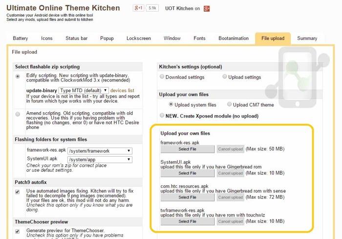 UOT Kitchen Upload files