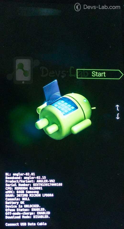 Google Nexus 6P Bootloader -fastboot mode