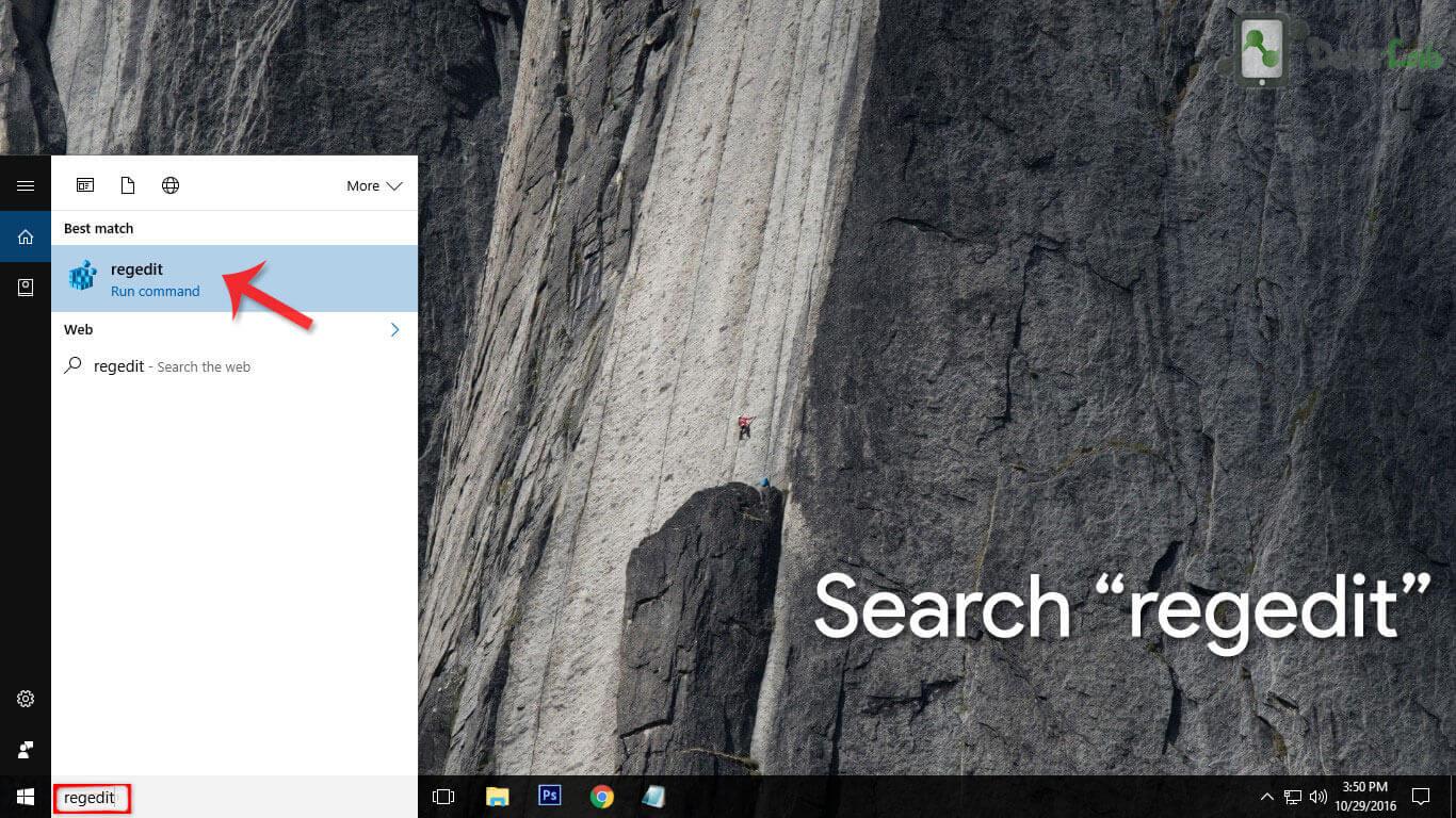 Search Regedit in Windows Search bar