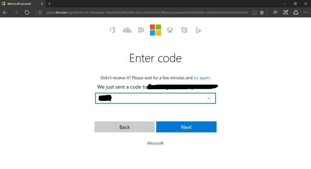 Microsoft Office Online Verification process
