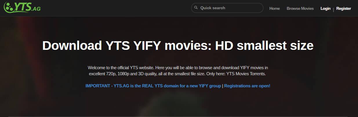 YTS.AG Torrent - Best torrent websites of 2019