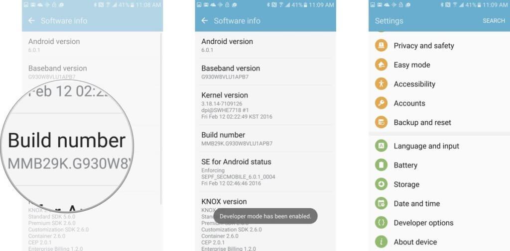 Galaxy S7 and S7 Plus Developer Mode