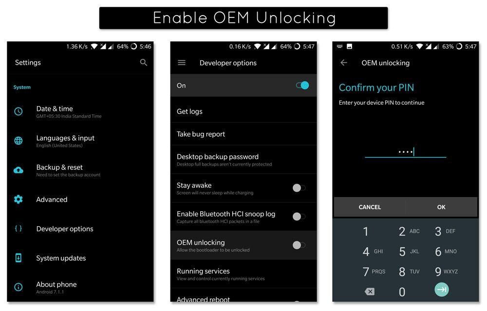 How to Enable OEM Unlocking in OnePlus 5 (Cheeseburger)