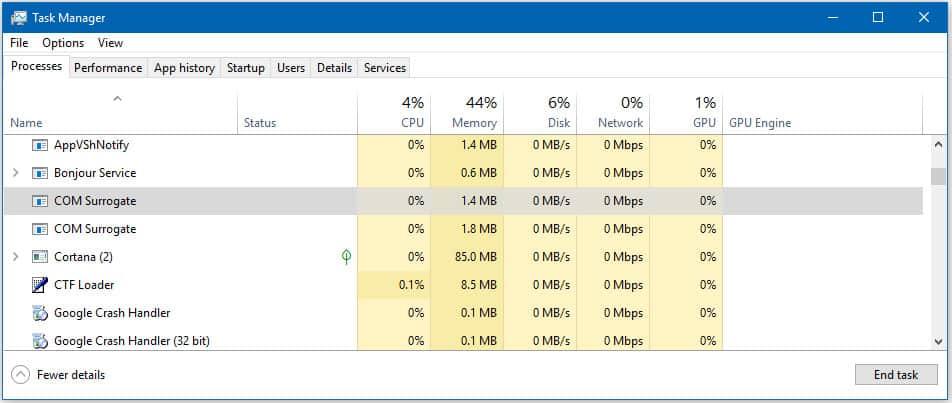 COM SURROGATE in Windows dllhost