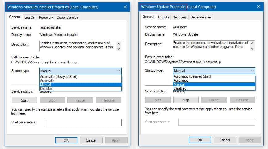 Change Windows Modules Installer Worker to Manual Startup