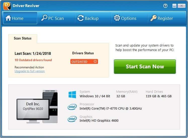 Driver Reviver best free driver updater software