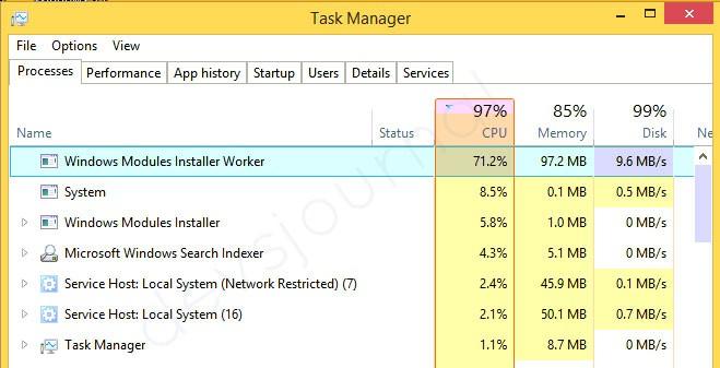 Windows Modules Installer Worker High CPU Usage Fix