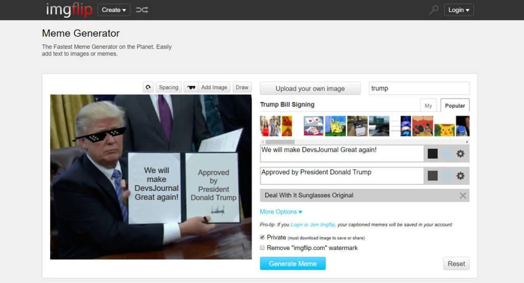 Create Donald Trump Executive order meme without photoshop
