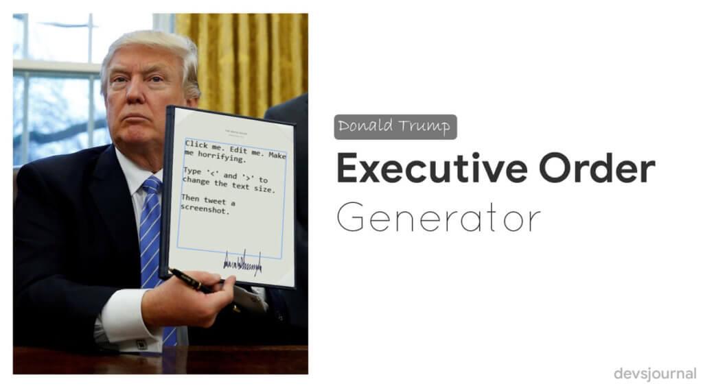 Donald Trump Executive Order Generator Github