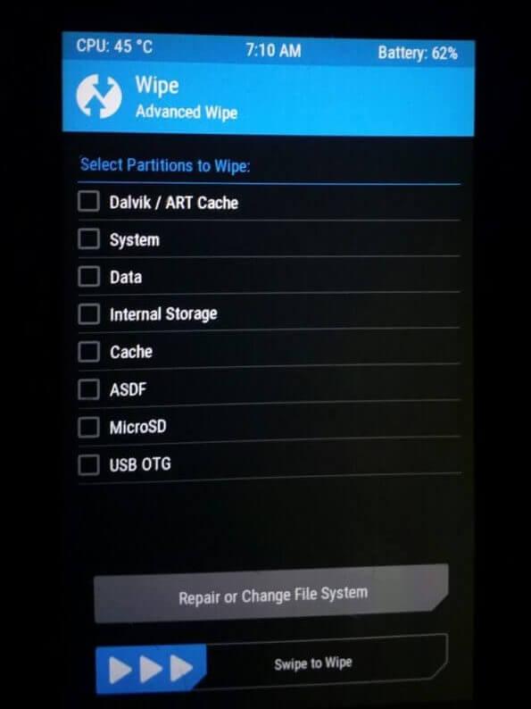 twrp wipe screen