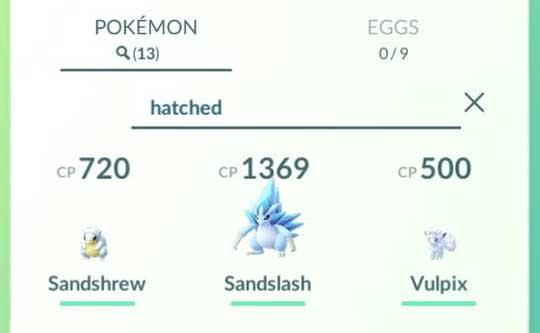Pokemon GO Search Hatched Pokémon
