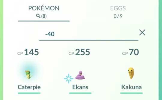 Pokemon GO Search Pokemon below a Specific Pokedex Entry