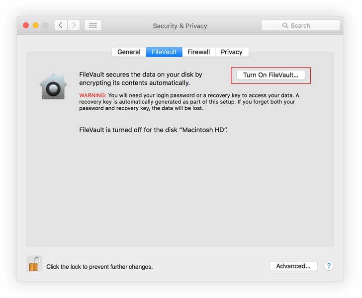 Macbook Filevault