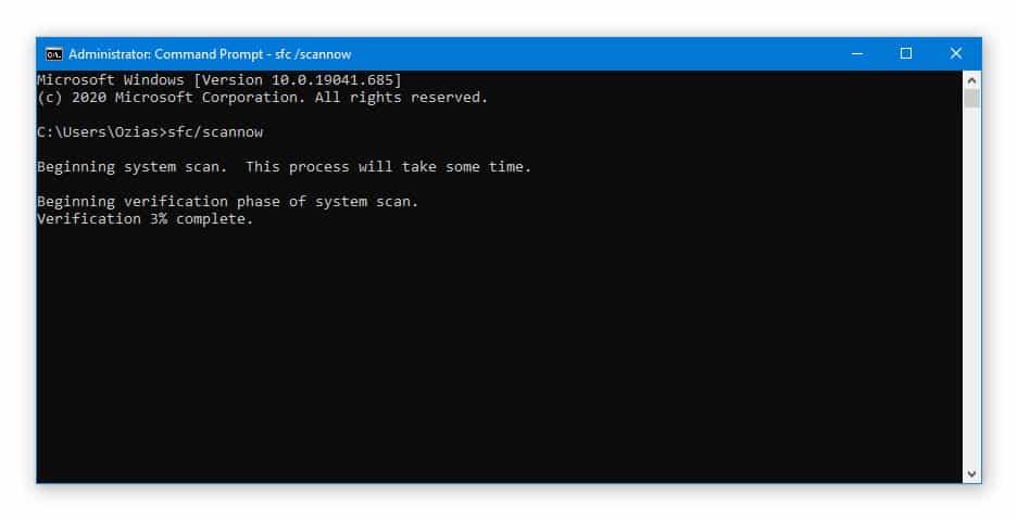 Run SFC Scan to Fix 0xc00000e9 Error